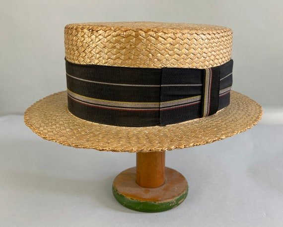 1920s Harold Lloyd Hat | Vintage 20s Yellow Yeddo Pressed Woven Straw Boater with Black Striped Grosgrain Ribbon Bow Trim | Size 7 1/4 Large