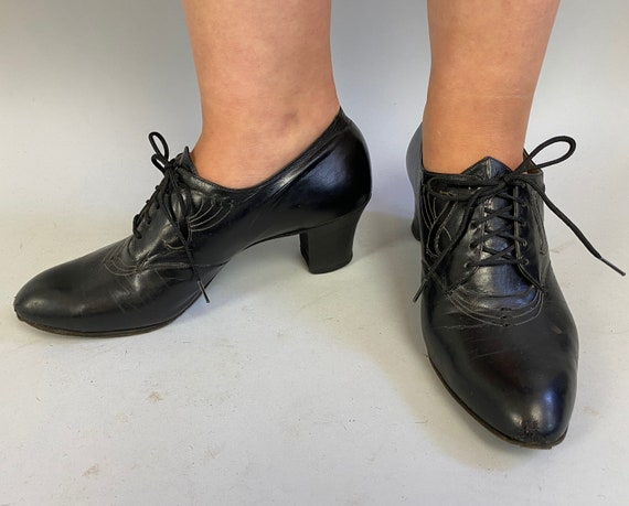 1930s Deco Darling Lace Up Heels | Vintage 30s Bla
