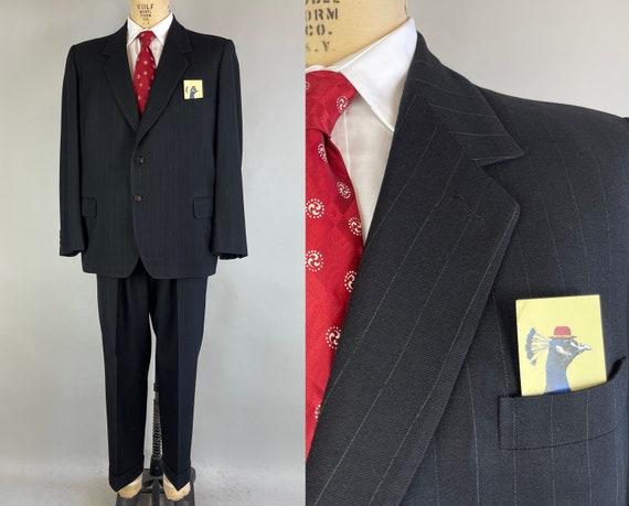 1930s Peak Noir Suit | Vintage 30s Jet Black with White Pinstripes Wool Trouser Pants & Notch Lapel Blazer Jacket | Size 42 Large