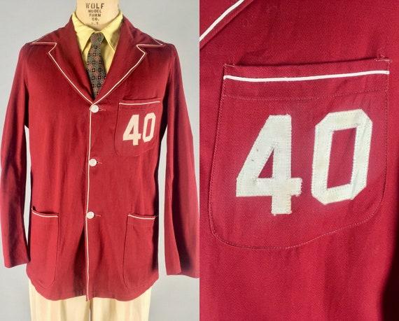 1940s Mens Cardinal Red Collegiate Jacket | Vintage 40s Twill Three-Button Sport Coat Blazer with Cream Corded Trim & Appliqué '40' | Medium