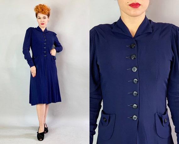1930s Button Up Betty Dress | Vintage 30s Navy Blu