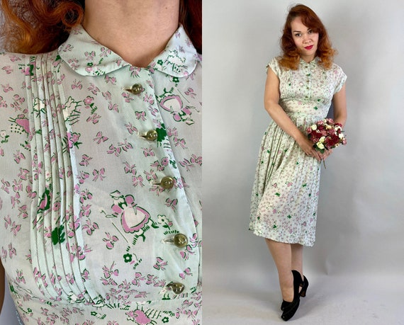 1940s Little Bo Peep Dress | Vintage 40s Mint Green Rayon Chiffon Novelty Print Shirtwaist Frock with Pleats & Pink Sheep and Bows | Small