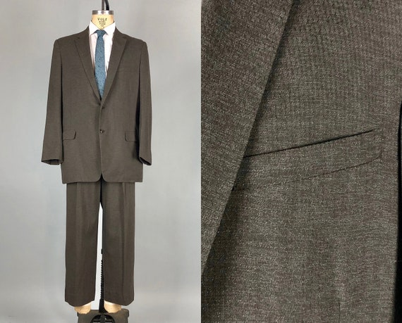 1950s Mens Static Pattern Suit | Vintage 50s Dark Taupe Brown Summer Wool Blazer Jacket and Trousers Pants | Size 42 Large Extra Large XL