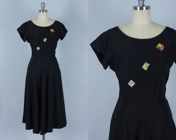 "Vintage 1940s Dress | 40s ""Jewelteens"" Black Rayon Day-to-Night Party Dress with Plaid Multicolor Taffeta Peekaboo Ribbon Detail 