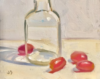 Grapes and Glass- Original Oil Painting on 8x8 inch canvas panel