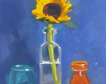 Sunflower and Glass- 10x8 inch original oil painting on Ampersand gessobord