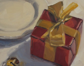 Red, White and Gold- Original Oil Painting on 6x6 inch Ampersand Gessobord