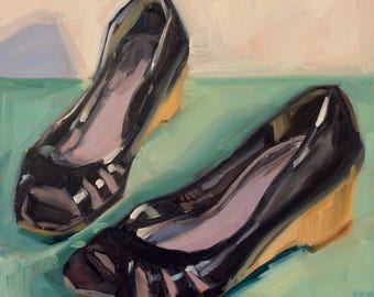 W is for Wedges- Original Oil Painting on 6x6 inch Ampersand Gessobord