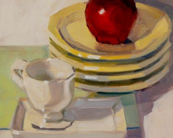 Stacked, Again- Original Oil Painting on 6x6 inch Ampersand Gessobord