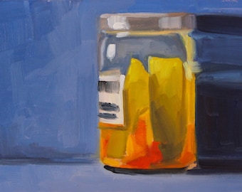 P is for Pickle- Original Oil Painting on 5x7 inch Ampersand Gessobord