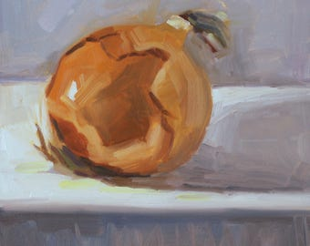 Y is for Yellow Onion- Original Oil Painting on 6x6 inch Ampersand Gessobord