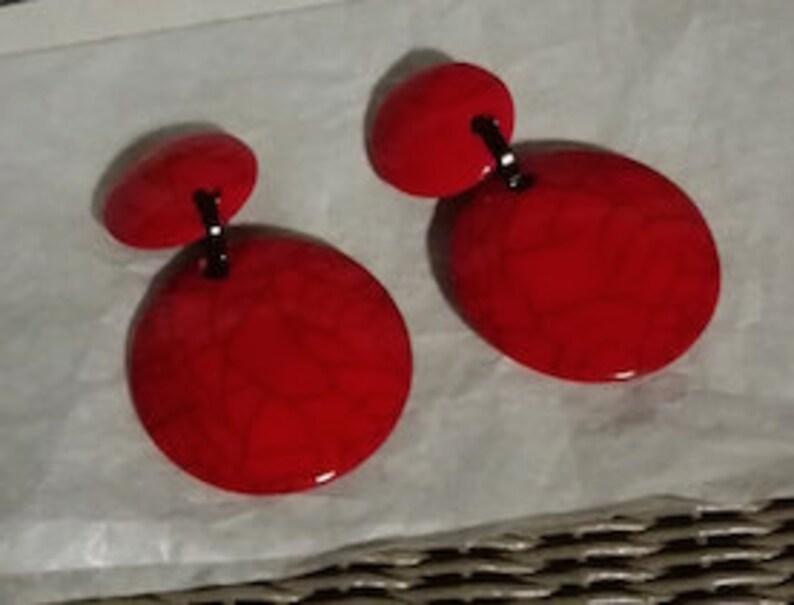Tomato red ear clips krakel\u00e9 by Marion Godart Paris