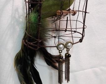 Earrings bead and tassel