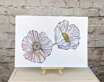 "Anemone Fine Art Giclee Print // A4 12""x8"" Wall Art"