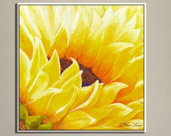 Large Wall Art, Flower Oil Painting, Sunflower Painting on Canvas, Dining Room Painting, Modern Painting, Nature Painting, New Home Decor