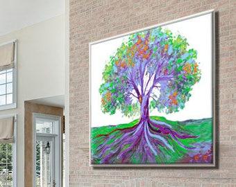 Canvas Art, Tree Wall Art, Purple Canvas Art, Tree on Canvas, Purple Tree Art, Custom Art Print, Custom Canvas Art Nature Lover Gift