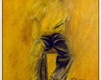 Abstract Wall Art Oil Painting, Modern Wall Art, Decorative Art, Abstract Modern Art, Figurative Art, Yellow Wall Art, Yellow Art