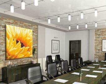 Office Wall Art, Flower Wall Decor Canvas Print, Modern Wall Art, Office Art, Flower Art, Sunflower Decor, Yellow Wall Decor