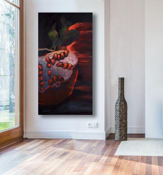 Grosse Leinwand Kunst Wohnzimmer Kunst Granatapfel Kunst Etsy