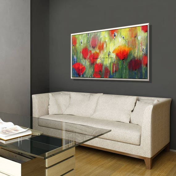Wall paintings for office Unique Image Etsy Canvas Painting Flower Canvas Art For Office Floral Wall Etsy