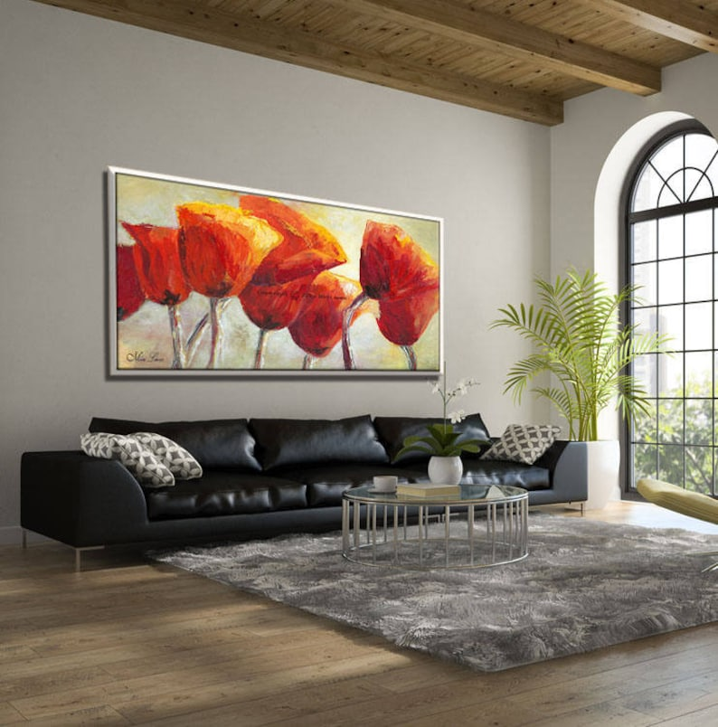 Extra Large Wall Art Extra Large Painting Red Painting Flowers Painting Red Artwork Huge Painting Red Canvas Art Extra Large Canvas