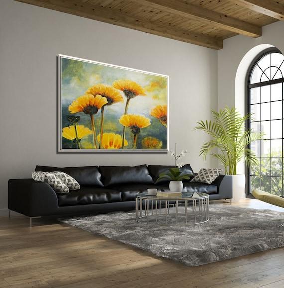 Flower Wall Art Living Room Wall Art Large Wall Art Living Etsy