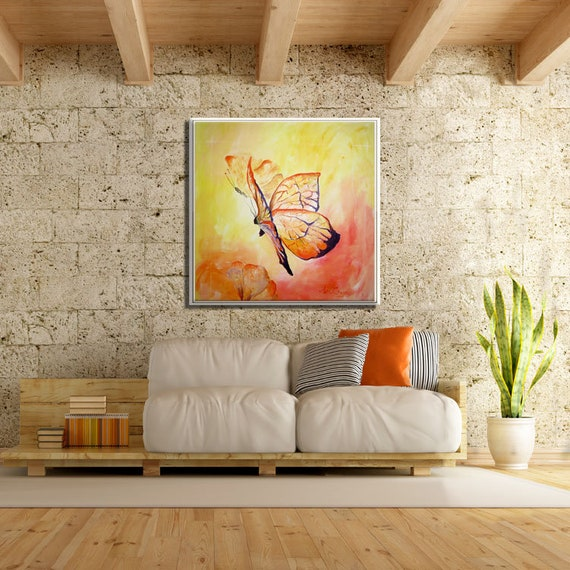 Living Room Wall Art, Living Room Painting, Paintings on Canvas, Butterfly  Painting, Animal Painting, Oil Painting, Butterflies Art