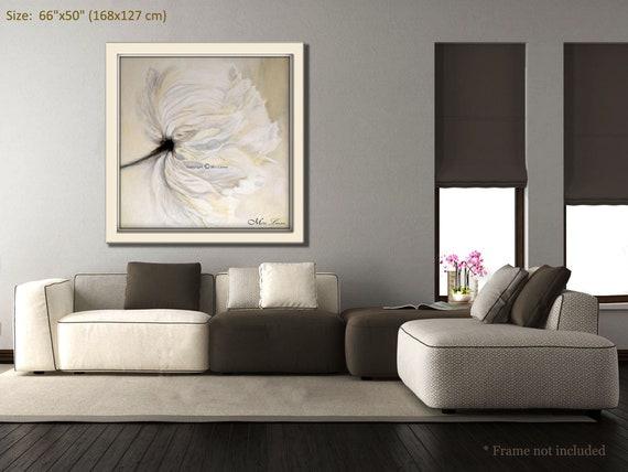 White Living Room Wall Art Oil Painting Flower Painting Etsy