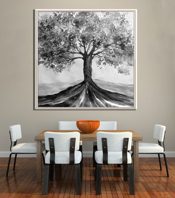 Large Tree Living Room Art Painting, Black White Painting on Canvas, Tree  Painting, Contemporary Landscape Art by Miri Lave