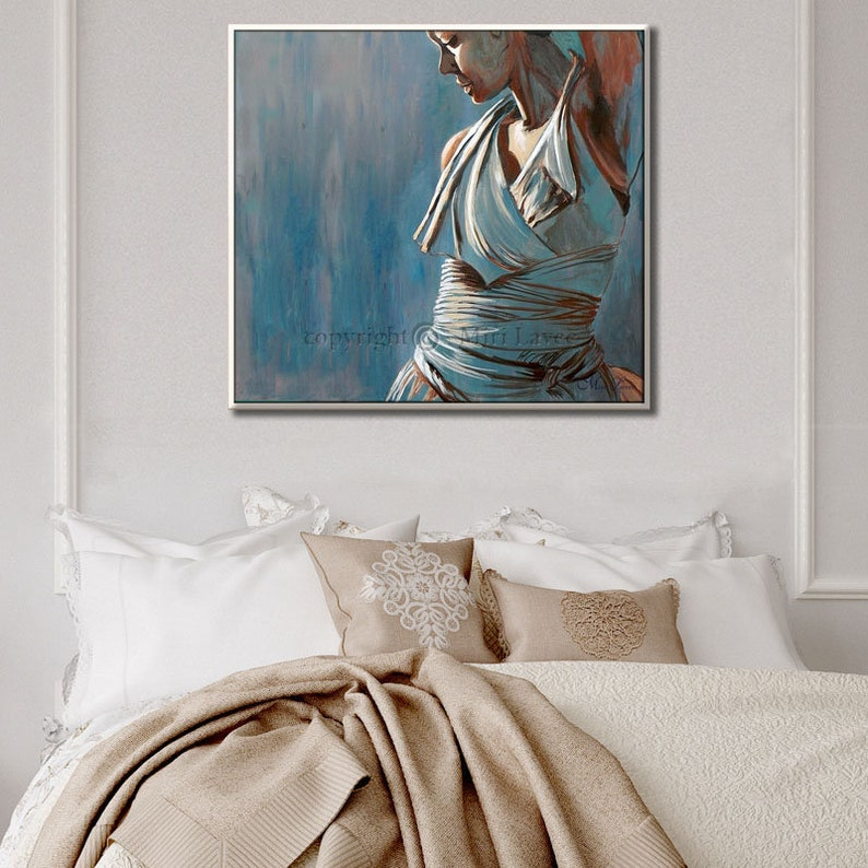 Original Oil Painting For Bedroom, Bedroom Wall Decor, Figure Art Canvas  painting, Blue Painting Dancer Painting figurative Painting