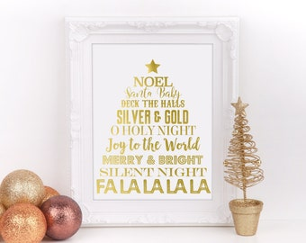 "Christmas Subway Art Gold Foil Sign, 8""x10"", Christmas Home Decor Sign, Holiday Decorations, Christmas Party Sign,  Instant Download"