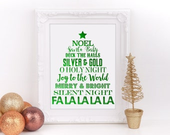"Christmas Tree Subway Art Green Foil Digital Sign, 8""x10"", Christmas Home Decor Sign, Holiday Decorations, Christmas Party, Instant Download"