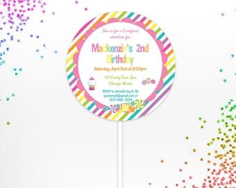 Candy Lollipop Invitation -  Candy Shop Invitation - Candy Shop Party - Kid Party Invite - Candy Invitation - Lollipop Invite - Candy Party