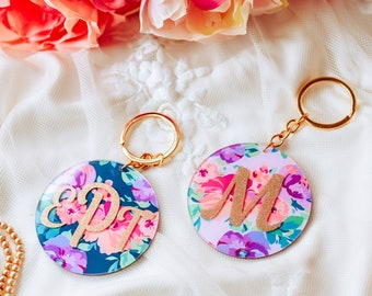 Personalized Floral Acrylic Keychains - Monogram Keychain - Birthday Gift for Her - Name Keychain - Bridesmaid Gift Idea