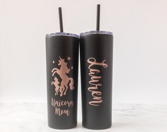 Unicorn Mom Tumbler - Gift for Mom - Mother's Day Gift - Personalized Mom Tumbler - Unicorn Mom Gift - Unicorn Mom Skinny Tumbler