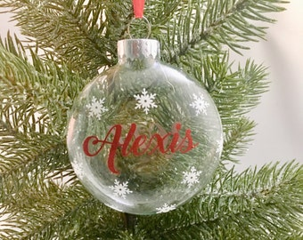 Personalized Snowflake Ornament - Glass Christmas Ornament - Christmas Gift Ideas - Christmas Ornament - Ornament for Her - Gift for Her