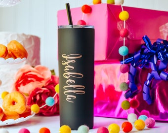 Personalized Skinny Tumbler, Graduation Gift for Friend, Monogram Tumbler for Daughter, High School Graduation Gifts