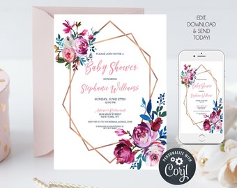 Pink and Blue Floral Baby Shower Invitation, Geometric Invitation, Baby Shower Invite, Editable Template, Instant Download
