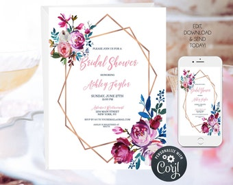 Pink and Blue Floral Bridal Shower Invitation, Geometric Invitation, Wedding Shower Invite, Editable Template, Instant Download