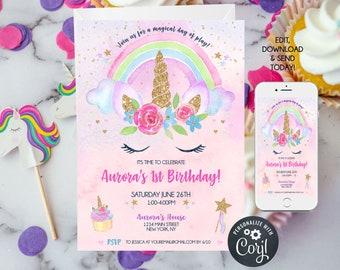 Unicorn 1st Birthday Invitations, Unicorn Rainbow Party, Unicorn First Birthday Invitation Template, 1st birthday girl, Instant Download
