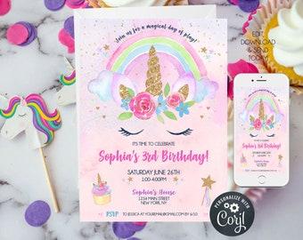 Unicorn Birthday Invitation, Unicorn Rainbow Party, 1st birthday girl, 3rd birthday party