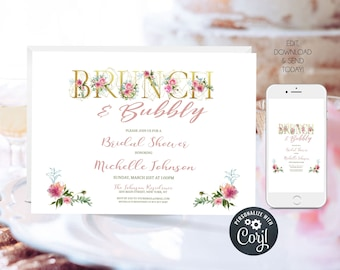Floral Bridal Shower Brunch and Bubbly Invitation, Bridal Shower Brunch, Wedding Shower Invitation