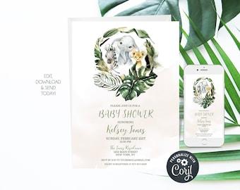 Safari Baby Shower Invitation Editable Template 5x7 - Jungle Baby Shower - Wild Baby Shower Invite - Elephant Baby Shower - INSTANT DOWNLOAD
