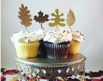 Leaf Glitter Cupcake Toppers, Fall Cupcake Toppers, Thanksgiving Cupcake Toppers, Brown Glitter Cupcake Toppers- Set of 12, Various Colors