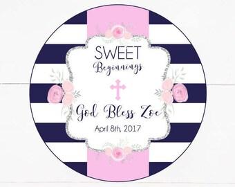 Navy & White Stripe Floral Baptism Labels, Christening Favor Tag, Girls Baptism, Sweet Beginnings, Sweet Favor Tag- Printable, Digital File