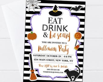 Halloween Invitation - Eat Drink & Be Scary Party Invite - Halloween Party Invitation - Spooky Invitation - Halloween Printable - Digital