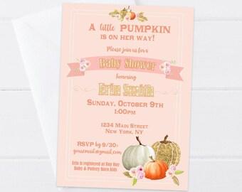 Little Pumpkin Baby Shower Invitation - Pumpkin Baby Girl Shower Invitation - Pumpkin Floral Invite Girl - Fall Baby Shower - Printable