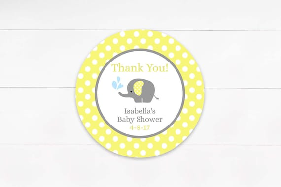 Yellow Gray Elephant Favor Tags Baby Shower Favor Labels Etsy
