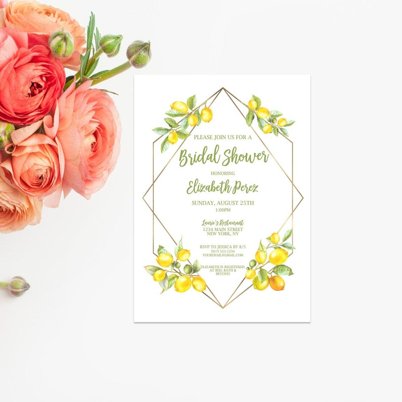 Lemon Geometric Bridal Shower Invitation Digital File  Bridal image 0