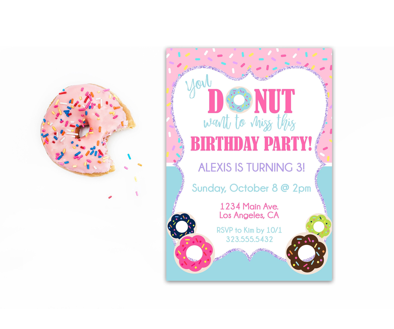 Donut Birthday Invitation Donut Party Invite Birthday | Etsy